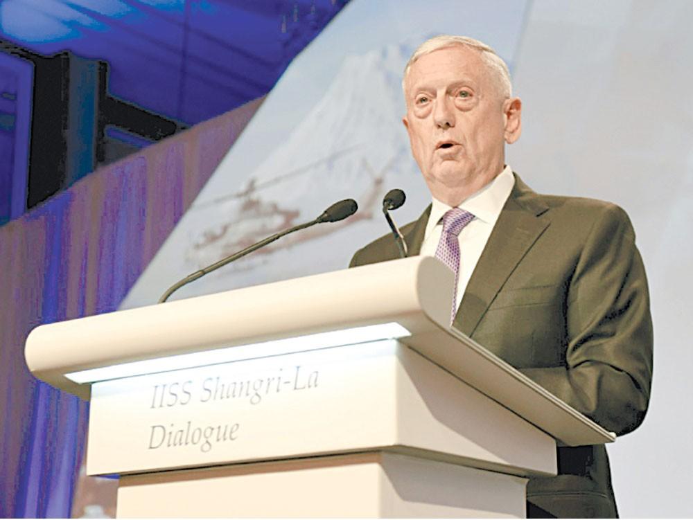 ماتيس يضغط على بكين بشأن كوريا الشمالية وبحر الصين