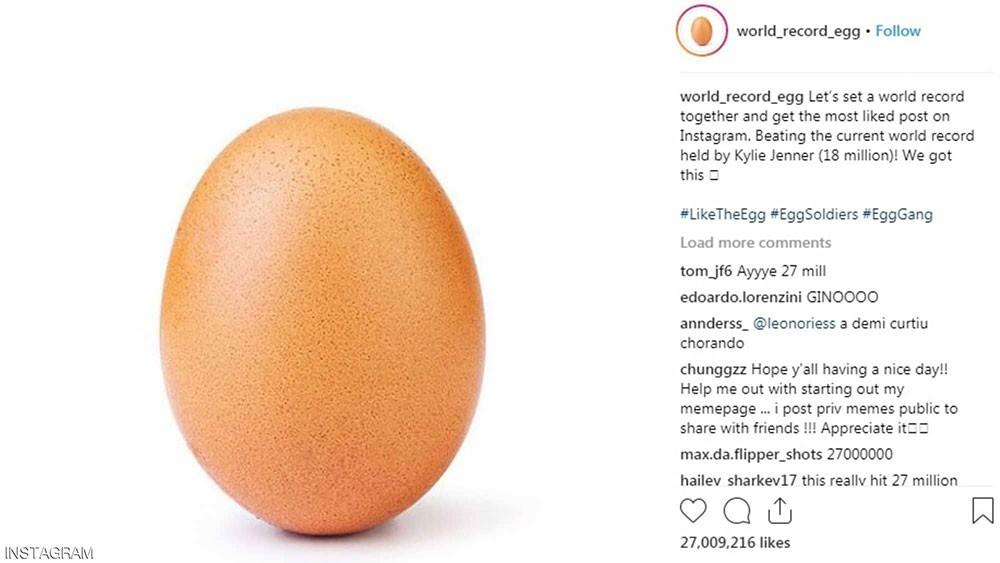 """صورة """"بيضة"""" تحطم الرقم التاريخي على """"إنستغرام"""""""