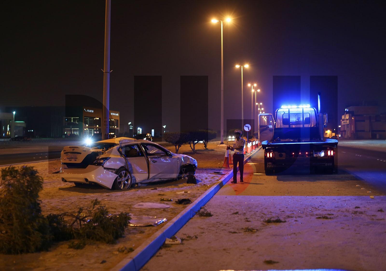 إصابات بليغة لشاب بحريني بحادث مروري على شارع الشيخ جابر الصباح