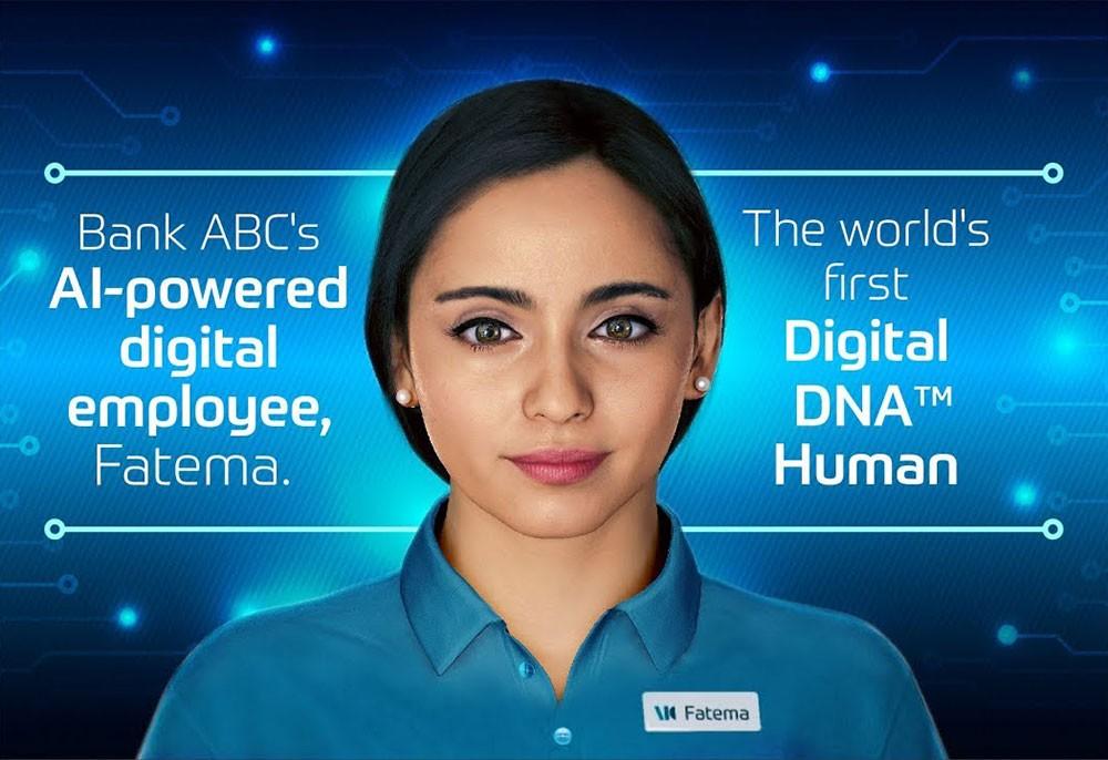 """موظفة بنك ABC الرقمية """"فاطمة"""" أول إنسان افتراضي بحمضٍ نووي وراثي رقمي في العالم"""
